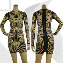 2015 latest tiger pattern printing long sleeve women bandage dress evening dress
