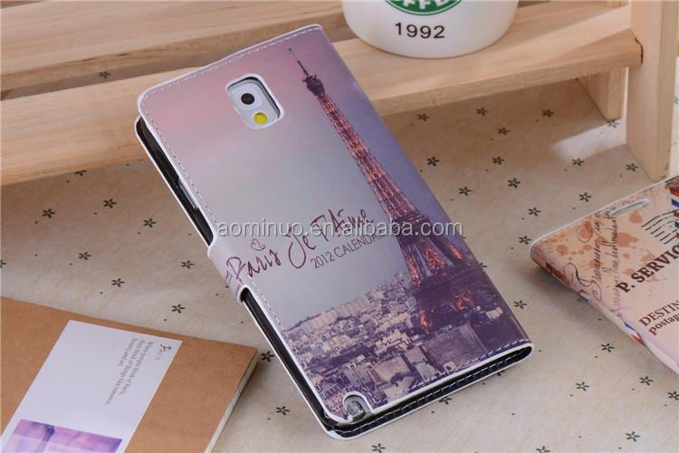 Classical National Landmark flip case Eiffel Tower for Samsung NOTE 3 Silk pattern PU leather case wallet style cover case