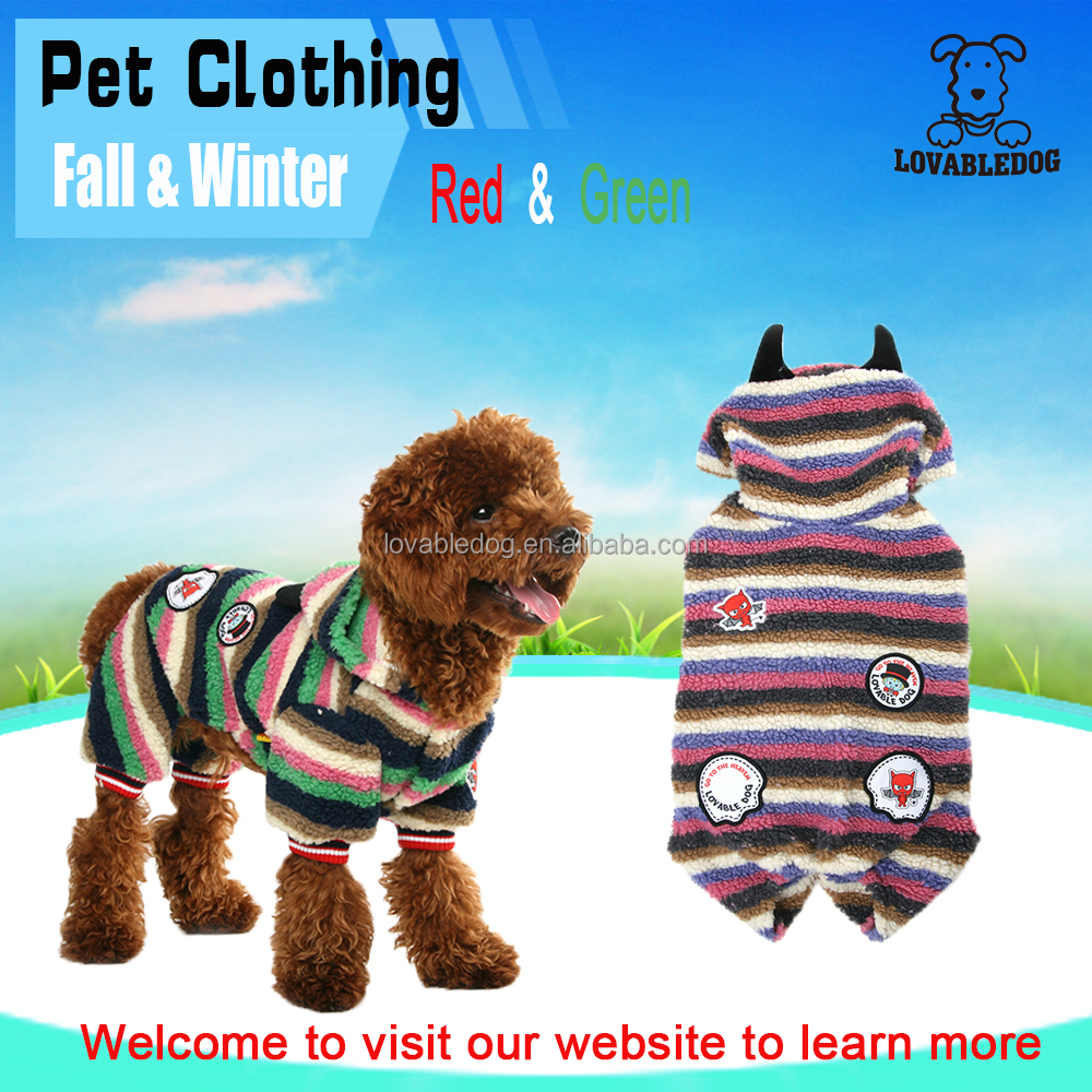 Wholesale NEW pet products Striped dog clothes devil one-piece clothes pet winter clothes Pets Apparel and Accessories