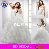 Customized Ball GOwn Wedding Organza Ruffle Skirt Latest Design Wedding Party Dresses