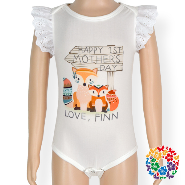 Cartoon Printing One Piece Baby Rompers White Cotton Flutter Sleeve Infant Romper