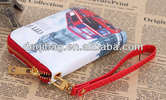 Fashion PU leather Women's wallets carteira Printed wallets for women purse with famous building pattern