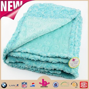 2015 christmas day gift embroider warm Flannel blanket/super soft comforter flannel blanket with solid color made in china
