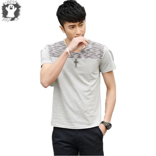 New 2015 M-3XL Hot Summer Style Mens Shirts Slim O-Neck Casual Shirt Men  Patchwork  T-shirt  Cotton Top Sports Man Clothing
