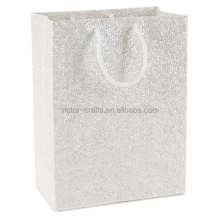 Pearl embossed medium christmas gift bag paper packaging bag