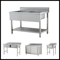 Large Size Kitchen Stainless Steel Work Table With Washing Hand Sink