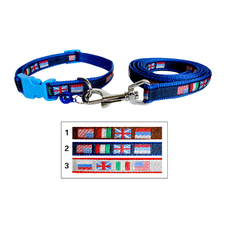 Wholesale Plastic buckle flag dog collars leash set