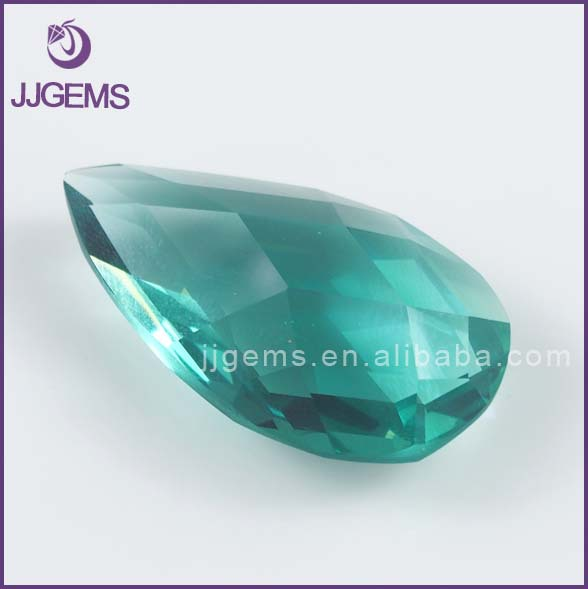 Wuzhou auto machine cut double checker cut pear shape large size crystal glass gemstone for pendant