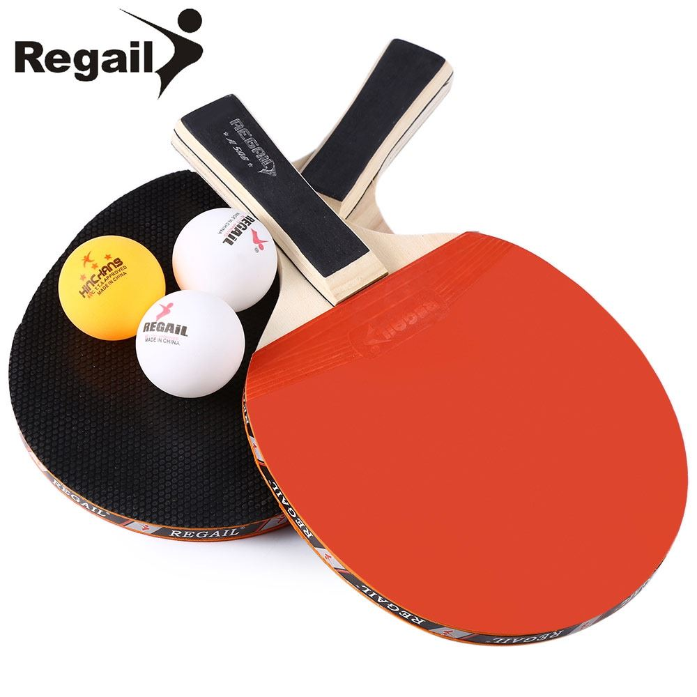 REGAIL A508 Table Tennis Ping Pong Racket Two Long Handle Bat Paddle Durable Design Table Tennis with Three Balls