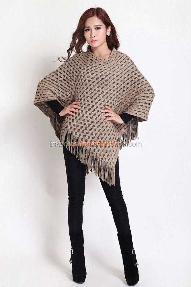 2015 2016 Aztec Pattern Knit Ladies Womens Long Fashion Sweater Poncho Woman ...
