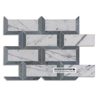 rectangle dark blue and white marble mosaic tile with grey lines
