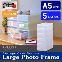 Storage box A5 document, stationery desk top drawer(photo frame, picture) case Japan design modular plastic PLUST PHA505C