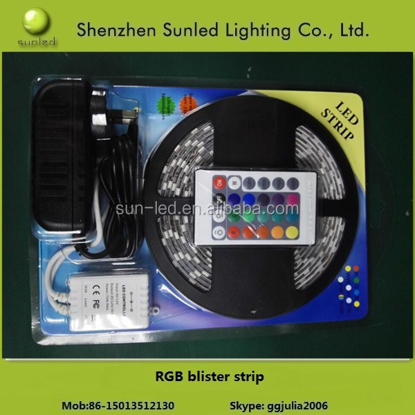 SMD 5050 rgb led strip 12v blister packing 60led/m with remote controller