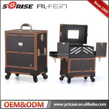 Fashion hot sale professional leather high quality makeup trolley case