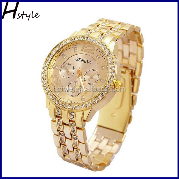 GENEVA Metal Classic Boyfriend Designer Chronograph Style Ladies Watches Gold WP016