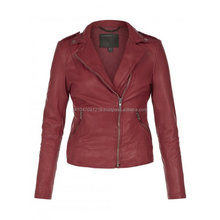 Red Brando Style Womens Biker Motorcycle Genuine Leather Jacket All Sizes
