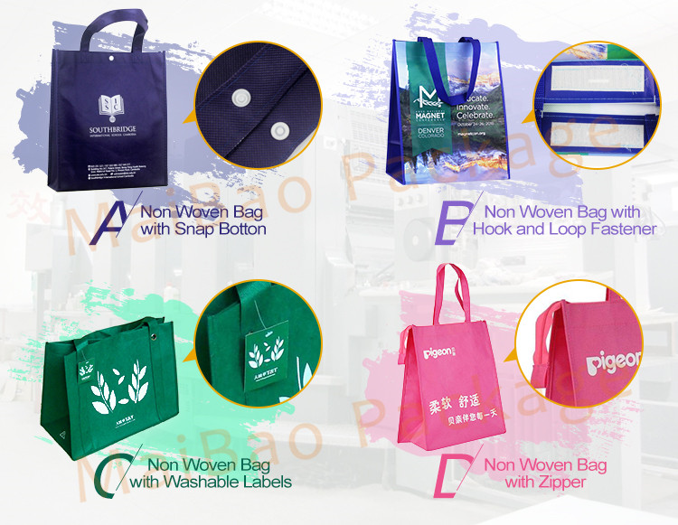 Guangzhou Custom Logo Printed Eco Friendly Tote Shopping Carry Fabric PP Laminated Recyclable Non Woven Bag