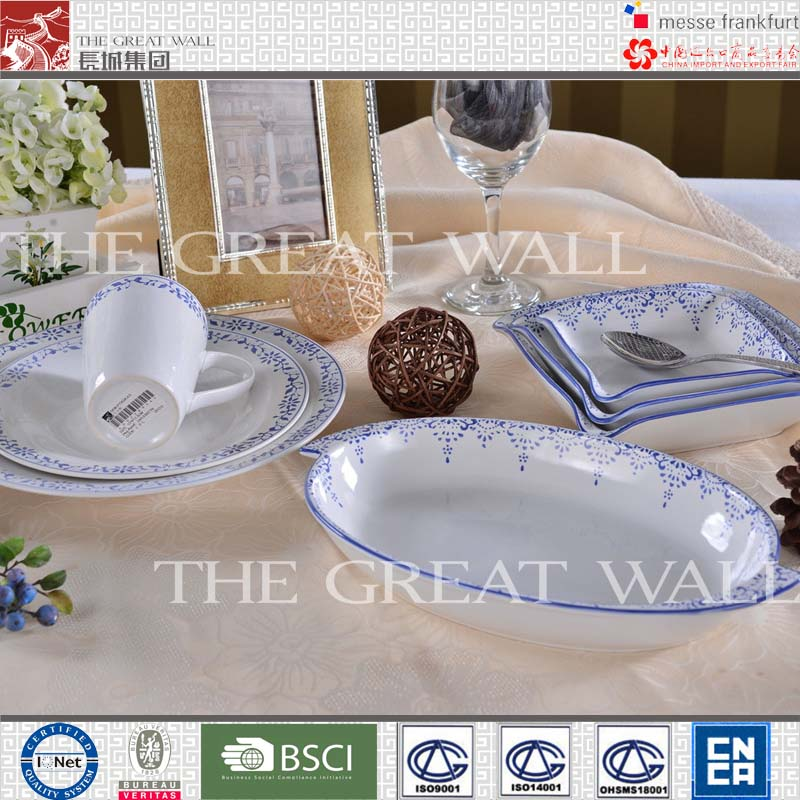 Wholesale blue and white porcelain tableware set