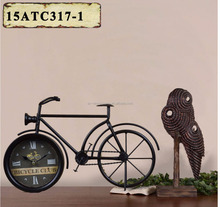 BLACK METAL BICYCLE SHAPE TABLE TOP CLOCK