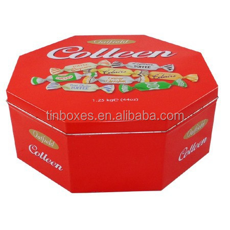 Factory direct sales high quality octangle candy tin box
