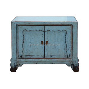 asian antique hot sale two door solid wood microwave oven cabinet