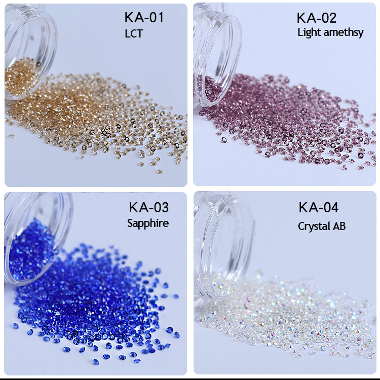 Factory Direct Sale 1.2mm 12 Colors Mini Machine Diamond Cut Crystal Pixie For Nail Art Decoration