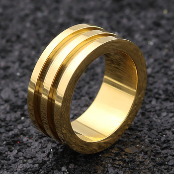 Golden plated Double grooves blank ring