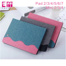Business Style cloth Leather Back wallet Case for ipad mini 2 3 4