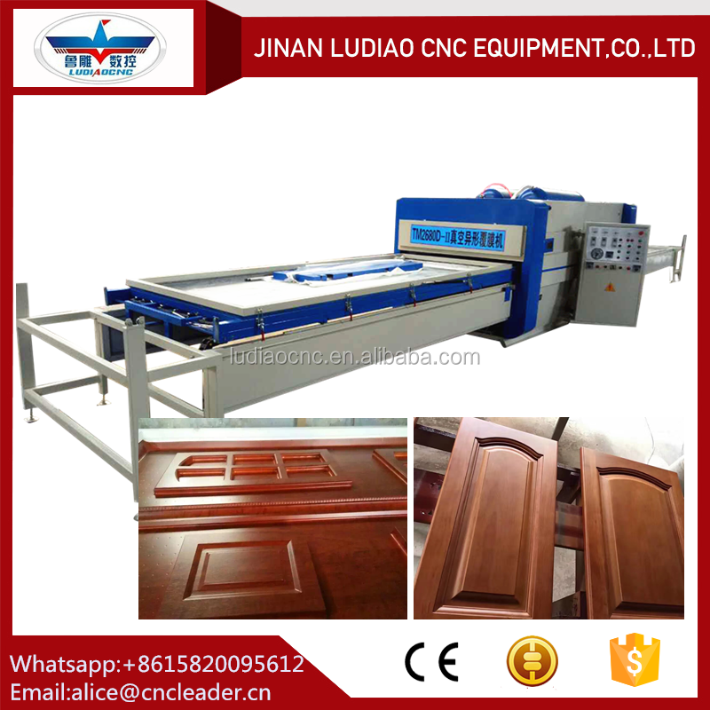 High gloss foil pvc film automatic vacuum membrane press machine for kitchen cabinet door/photo frame