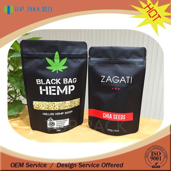 Gravure customize standing window bags with zipper for packaging chia seeds