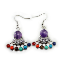Ethnic agate round beads multi color earrings
