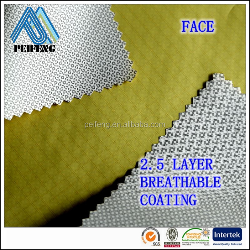 DB1400974 400T 20D polyester ribstop water proof fabric( breathable and waterproof coating and printing on coated side)
