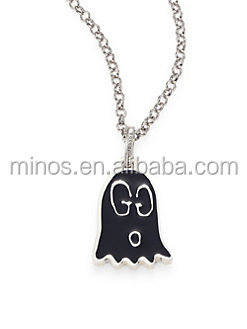 factory custom brand jewelry cheap Silver Ghost Pendant Necklace