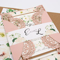 Blush pink laser Cut Wedding Invitations