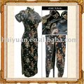 Elegant long length short sleeve black cheongsam
