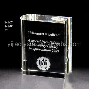 Crystal Book Trophy, Optical Glass Book Award for Souvenir Gifts