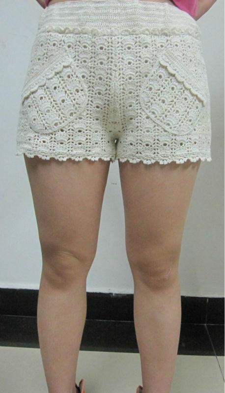 ganchillo del algodón pantalones de encaje con el patrón de bolsillo ...