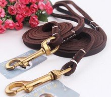 Genuine Leather Dog Long Leash Braided Leather Pet Lead Prevent Bite