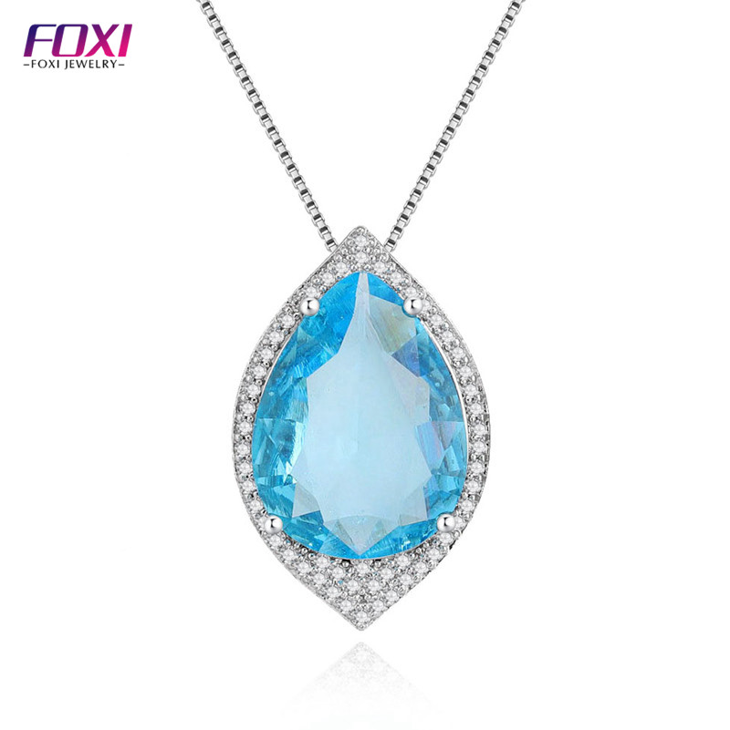 fashion women joyeria jewelry sea blue teardrop crystal necklace
