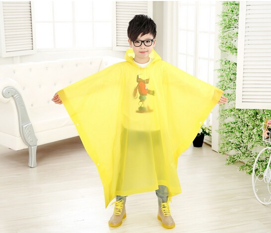 Kids Hooded Rain Poncho Raincoat Cover Long Rainwear For Age 5~10