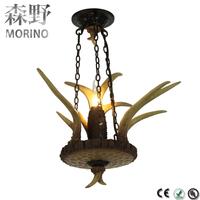 American Retro Pendant Light Fixture Resin Deer Horn Antler resturant Pendant lamp with lamp holder E14