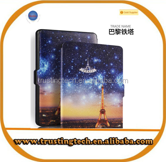Hot selling Eiffel Tower design pu leather cover for Amazon kindle paperwhite case
