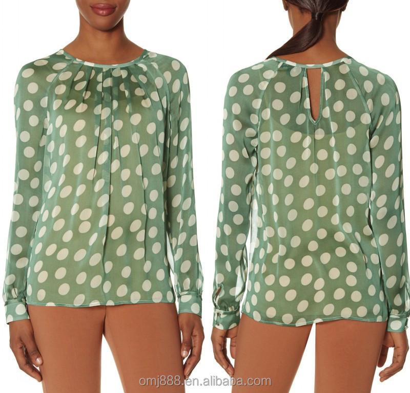 online shopping latest designs lady long sleeve dot printed blouse