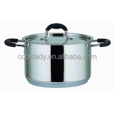 2pcs silicon handle stainless steel casserole with metal lid