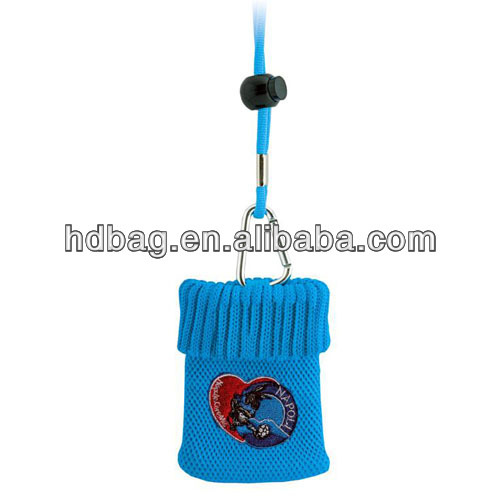 Embroidery knit polyester cotton mobile Phone Bag