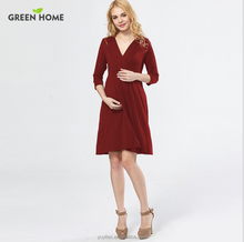 New 2017 Autumn fashion maternity dress pure color loose soft V neck sexy women maternity dresses