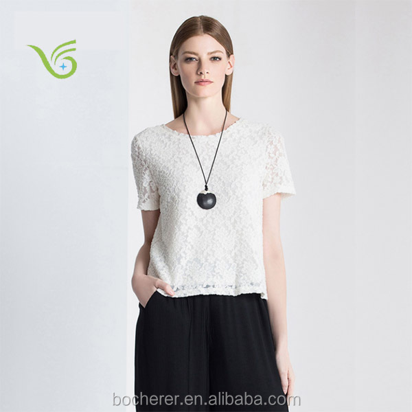 Exquisite jacquard short sleeve lace net top for girls