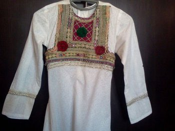 Afghani White Dress Pakistani Indian Shalwar Kameez