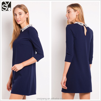 Woman straight cut A line casua long sleevel crochet collar dress