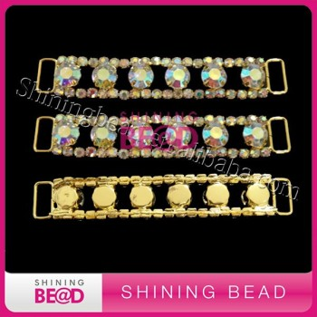 Gold Plated Base AB Crystal Rhinestone Bikini Trim Connectors Buckle